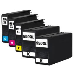 Sparset 5 Patronen XL alternativ zu HP 950XL & 951XL BK, C, M, Y