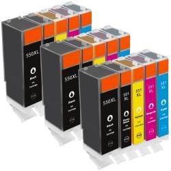 Sparset 15 Patronen XL alternativ zu Canon PGI-550XL CLI-551XL